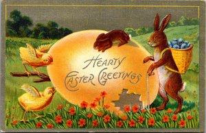 Winsch Anthropomorphic bunny egg basket cane chicks golden egg pert flowers