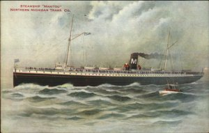 Great Lakes Steamer Steamship Manitou 1909 Chicago Cancel Postcard