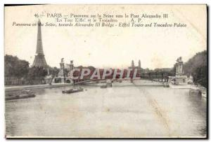 Old Postcard Paris Panorama Of The Seine To The Pont Alexandre III Eiffel Tow...