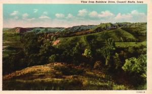 Council Bluffs, IA, View from Rainbow Drive, White Border Vintage Postcard g857