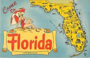 Linen Come to Florida Map Card FL