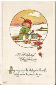 Christmas Greetings Postcard, Little Girl with Doll on Old Fashioned Toboggan