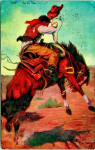 Artist Signed F W Schultz Cowboy Bucking Bronco Keep Your Seat 1910s DB Postcard