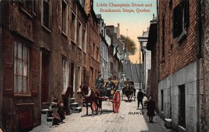 Little Champlaign Street & Breakneck Steps, Quebec City, Canada, Early Postcard