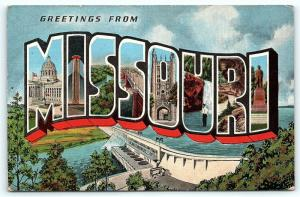 Postcard MO Large Letter Greetings from Missouri