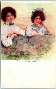 1910s Romance Greetings Postcard Two Pretty Young Ladies OVER THE GARDEN WALL