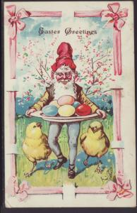 Easter Greetings,Gnome Carrying Eggs Postcard