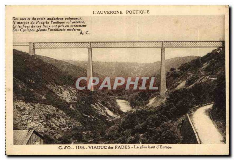 Old Postcard Auvergne Poetique Fades Viaduct The higher up in Europe