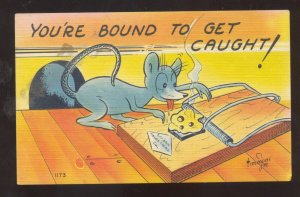 BOUND TO GET CAUGHT SIGNED TIMMONS MOUST MOUSETRAP COMIC POSTCARD