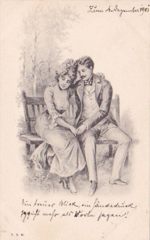 Romantic Couple On Park Bench