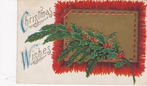 Christmas Wishes, holly, gold square with intertwined red ribbon, red fringes...