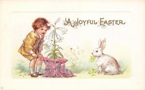 Easter~White Bunny Rabbit & Boy Study Pink Potted Lily~Emboss~Stecher 309 C