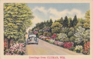 Wisconsin Greetings From Clyman With Road Scene 1940