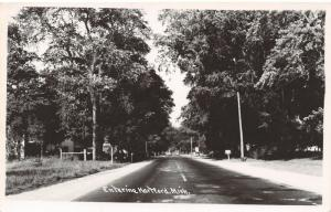 Hartford Michigan~Lines Down Middle of Road Entering the City~RPPC 1950 Postcard