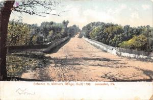 Lancaster Pennsylvania~Entrance to Witmer's Bridge~Unpaved Road~c1905 Postcard