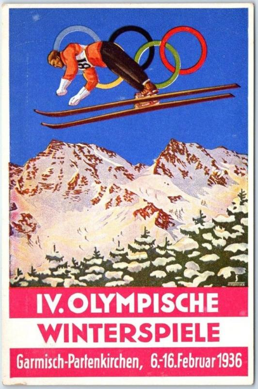Garmisch-Partenkirchen WINTER OLYMPICS Postcard Poster Art w/ 1936 German Cancel