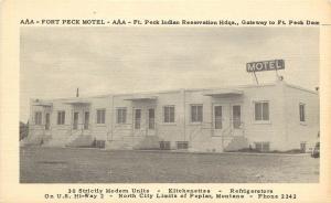 Vintage Postcard; AAA Fort Peck Motel, Indian Reservation HQ Poplar MT Roosevelt