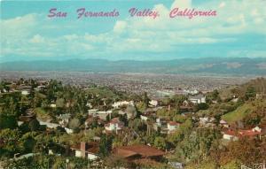 Hollywood California~San Ferando Valley From Hill~Homes~1958 Postcard