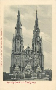 Eindhoven church Netherlands early postcard