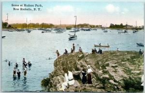 1910s New Rochelle, New York Postcard Scene at Hudson Park Bathing Boat Harbor