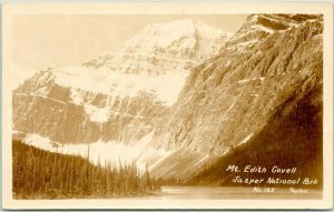 1945 JASPER NATIONAL PARK Canada RPPC Postcard Mt. Edith Cavell TAYLOR Photo