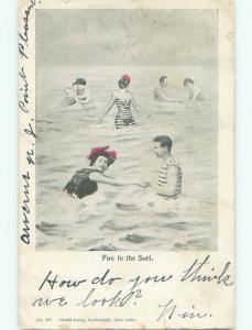 Pre-1907 WOMEN AND MEN IN SWIMSUITS AT BEACH k6847
