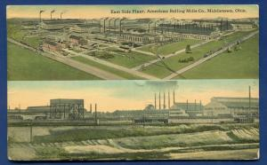 Middletown Ohio oh East side plant American Rolling Mills Co 1916 postcard