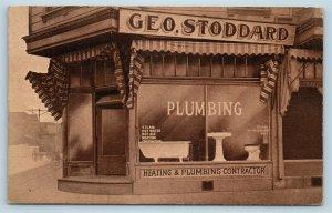 Postcard CA Berkeley George Stoddard Plumbing Storefront c1920s Bathroom T1