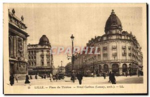 Postcard Old Lille Theater Square Hotel Carlton