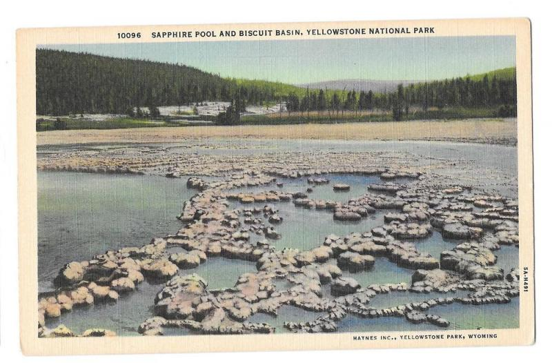 WY Yellowstone Park Sapphire Pool Biscuit Basin Vntg Haynes