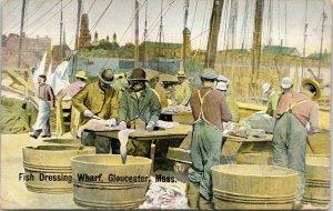 Gloucester Massachusetts~Fish Dressing Wharf~Mongers Cutting Up~1908 Postcard