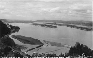 Columbia River Highway Oregon~Aerial View from Crown Point~1920s Real Photo Pc