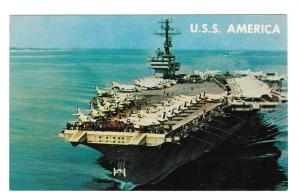 USS America Aircraft Carrier Military Vtg 1965 Postcard