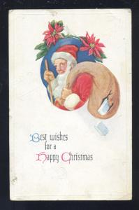 BEST WISHES FOR A HAPPY CHRISTMAS SANTA CLAUS HARDAN IOWA VINTAGE POSTCARD