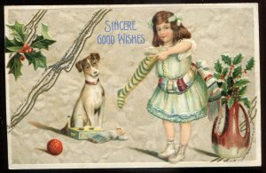 dc2034 - CHRISTMAS Postcard 1910s Glitter Embossed Girl Dog & Sock with Gifts