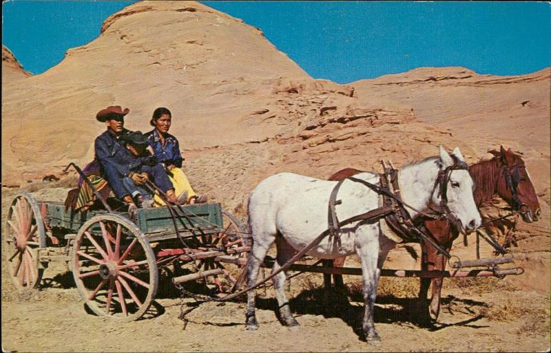 New Mexico Navajo Indian family in their wagon horse
