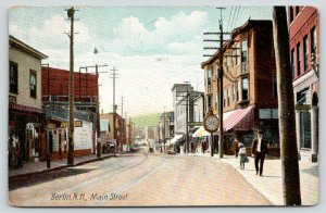 Berlin NH~Main Street Clock~Lunch Room~Dr LL Carson? Osteopath~Gerrish~1908