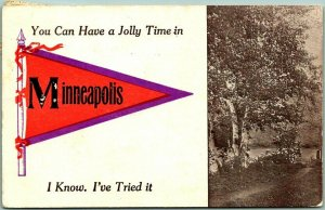 1912 MINNEAPOLIS Minnesota Pennant Greetings Postcard You Can Have a Jolly Time