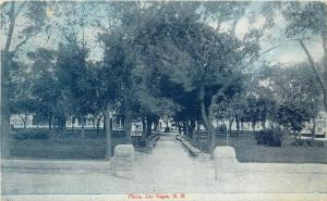 c1910 Fred Harvey Postcard; Plaza, Las Vegas NM San Miguel County posted