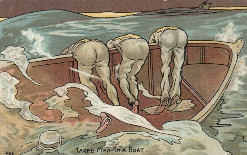 COMIC, 1900-10s; Three Men in a Boat, Seasick Men
