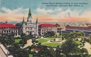 Louisiana New Orleans Jackson Square Showing Cabildo Saint Louis Cathedral An...
