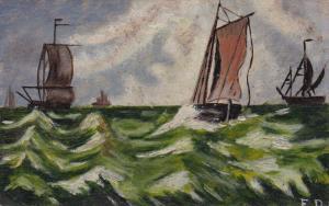 1900-1910s; 4 Sail Ships At Sea