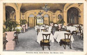 Des Moines IA Florentine Room~Stone? Planter~Chandeliers~Hotel Savery 1920s PC
