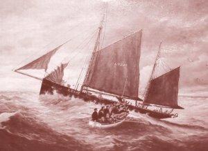 Lifeboat Lowestoft Rescue Ship Mission Elbe Survivors Painting Postcard