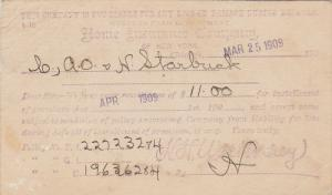 Remittance from Home Insurance Company of New York, Chicago, Illinois, PU-1909