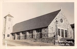 Chisholm/Jay ME~Round Window~Fancy Brick~St Rose of Lima Church RPPC c1950