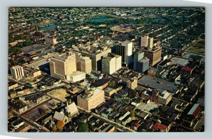 Wilmington DE- Delaware, Aerial View, Sky-line View, Chrome Postcard