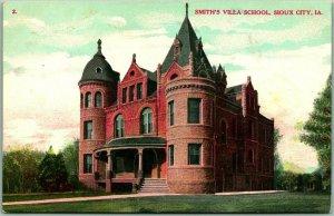 Sioux City, Iowa Postcard SMITH'S VILLA SCHOOL Building View c1910s UNUSED