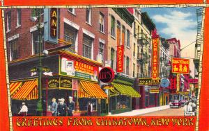 Greetings From Chinatown, New York, N.Y., Early Postcard, Unused