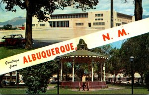 New Mexico Albuquerque Greetings Showing Old Town Plaza & Band Stand and John...